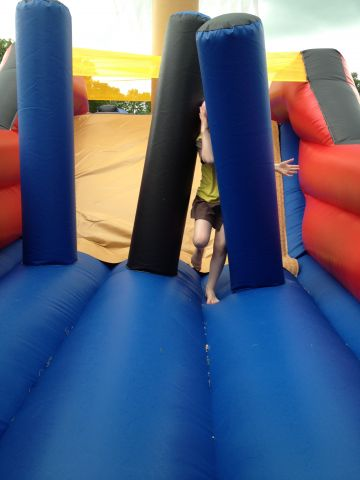 Inflatable challenge at camp